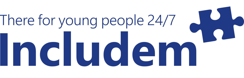 Includem logo - blue font